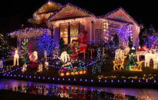 A home decorated with Christmas lights.